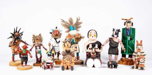 Twelve Native American Kachina Dolls