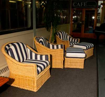 """""""Walters Wicker INC"""" New York Three Club Chairs and Two Ottomans"""