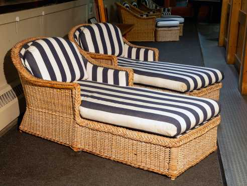 """""""Walters Wicker INC"""" New York Two Chaise Lounges with Cushions"""