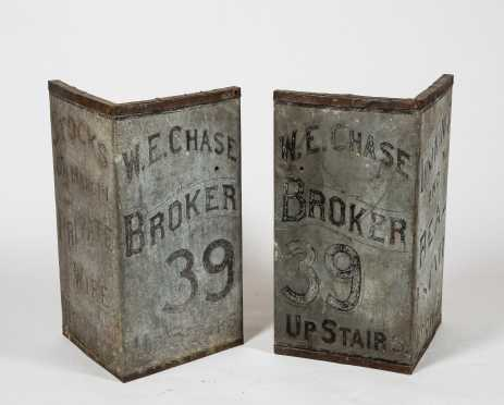 """Pair of """"W.E. Chase"""" Corner Advertising Signs"""