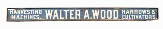 """""""Walter A. Wood"""" Painted Wood Form Equipment Advertising Sign"""