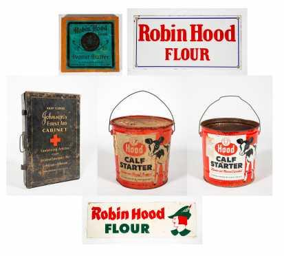 Six Piece Robin Hood Flour, Johnson's First Aid and Hood Calf Starter Lot