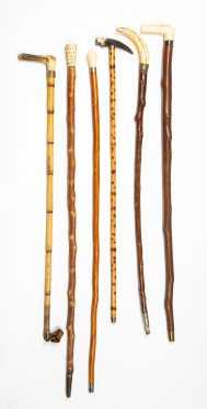 Lot of Six Bone Headed Canes/ Crops