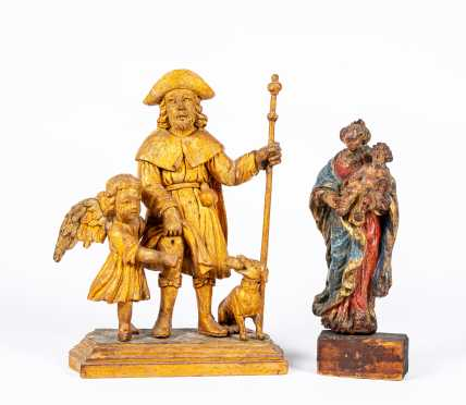 Two Carved Wooden Saint Figures