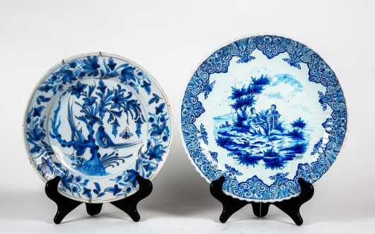 """Two Blue and White """"Delft"""" Deep Dishes"""