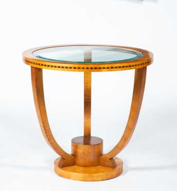 Biedermeier Style Round and Glass Top Side or Coffee Table