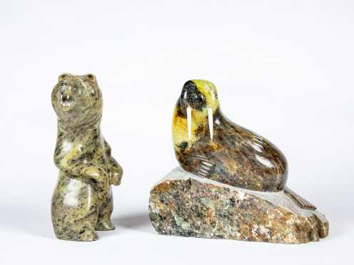 Two Inuit Carved Soapstone Sculptures by Talmadge and J. Tobuk
