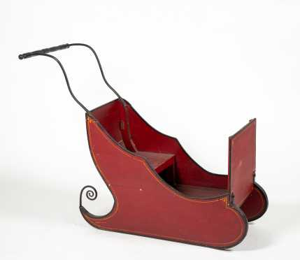 Red Painted Push Sleigh