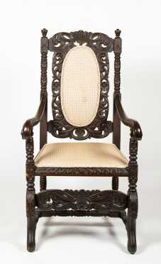 17thC Style English Carved Arm Chair