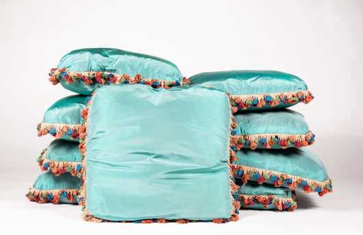 Nine Blue Green Silk Pillows