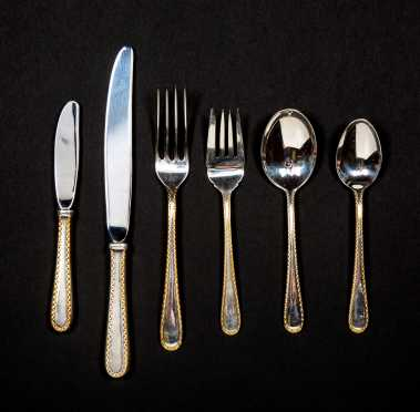 """""""S. Kirk & Son"""" Sterling with Gold Border Place Settings for Twenty"""