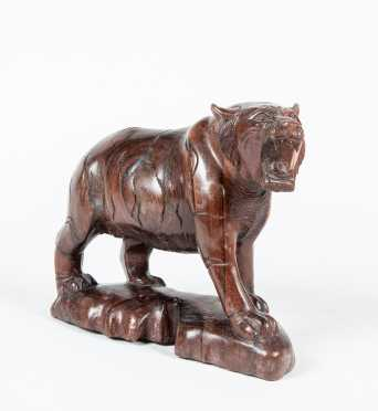 Carved Hardwood Chinese Tiger