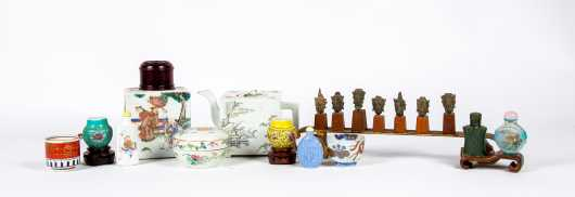 Twelve Asian Small Ceramic, Wooden and Glass Items