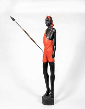 20thC Standing Maasai Warrior with Metal Spear