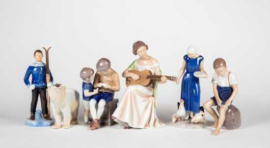 Six D&G (Copenhagen Porcelain) Gloss Figures Made in Denmark