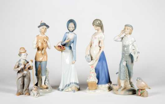 Six Porcelain Gloss Figurines by Miguel Requena, Porceval, Rex Vatencia and One Other, All made in Spain
