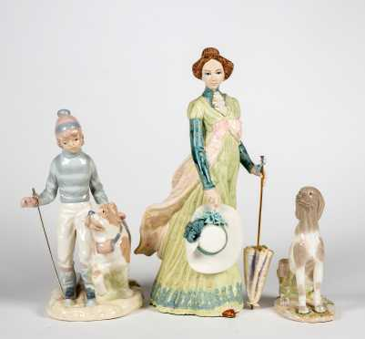 """Three Figurines, One Porcelana Artistica Levantin and Two Gloss with """"N"""" Crown Marking, Made in Spain"""