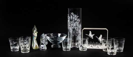 Twelve Pieces Baccarat, Waterford and Orrefors Crystal and Glass Lot along with Acrylic Block
