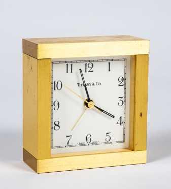 Tiffany & Co. Swiss Quartz Brass Square Clock