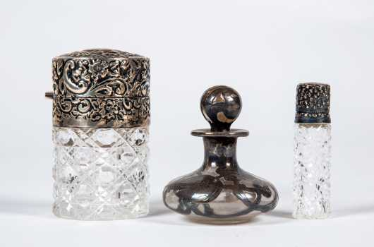 Three Piece Crystal and Sterling Perfume Lot