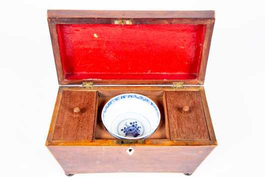 English Mahogany Coffin Shaped Tea Box