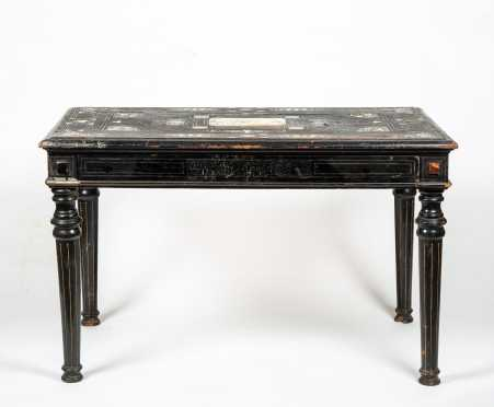 19thC Bone Inlaid Signed Neo Classical Center Table