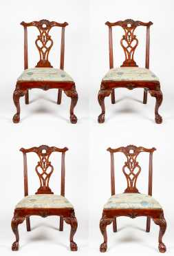 Set of Four Chippendale Style Chairs