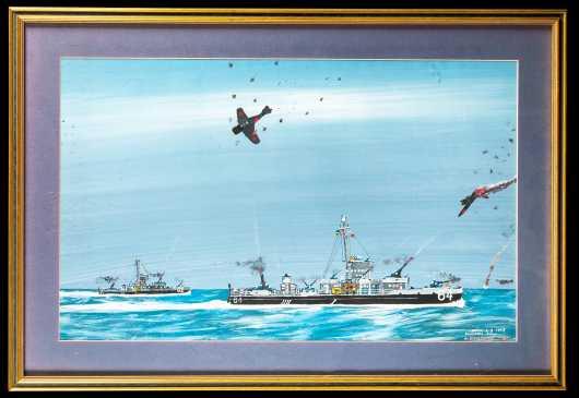 Kamikazes; Battle of Okinawa Painting, SC 3/c Joseph H Staigar, USN, LCS(L)-61