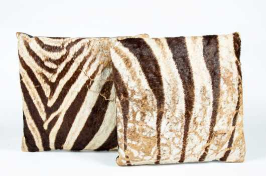 Pair of Zebra Skin Pillows