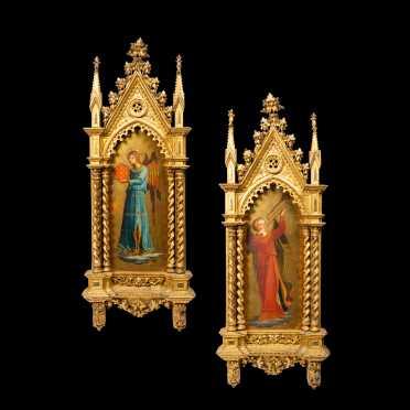 Two Similar Icons Set in Fancy Gold Gilt Frames