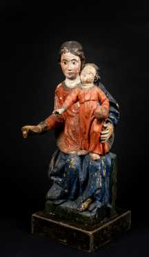 18th/19thC Painted Wooden Madonna and Child