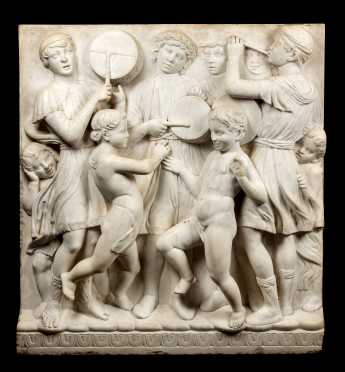 18thC/19thC Italian Carved Marble Frieze After Luca Della Robbia / Brunelleschi