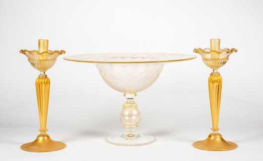 Murano Glass Centerpiece and Candlesticks