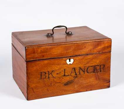 19thC American Whale Bone Inlaid Lancer's Valuable Box