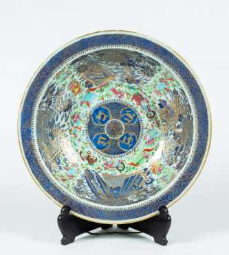 19thC Chinese Celadon Wash Bowl Enamel Decoration