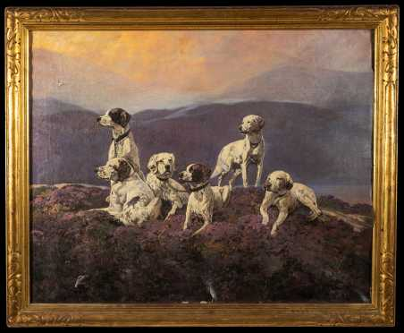 L19thC American or Scottish Six Hunting Dogs Oil Painting