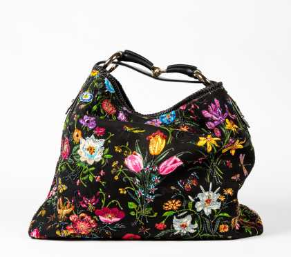 Gucci Black and Multicolor Canvas, Leather and Horsebit Shoulder Bag