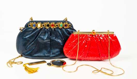 Two Judith Leiber Convertible Clutch Handbags