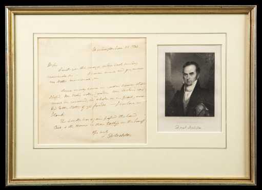 Daniel Webster Signed Letter and Ephemera