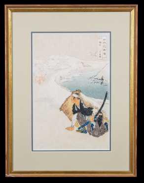 """Ogata"" Legend Japanese Block Print of a Samurai"