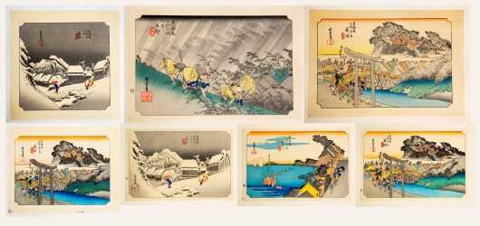 Seven Japanese Ukiyo-e Woodblock Prints, Utagawa Hiroshige