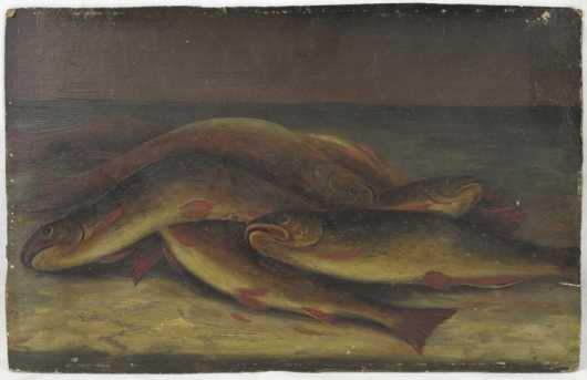 19th century, still life of a trout on a table