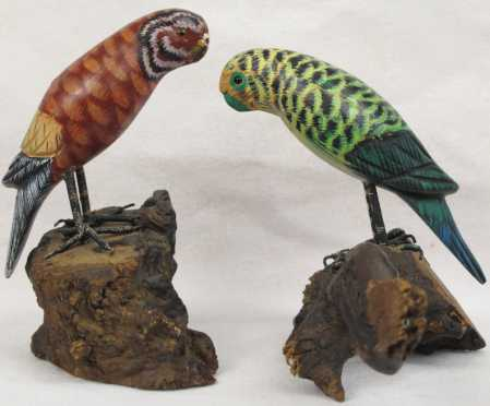 """Pair of painted Parakeets, signed """"R. Morse"""""""