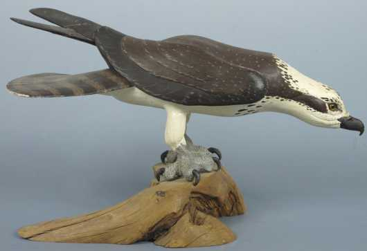 Robert & Virginia Warfield hand carved and painted Osprey