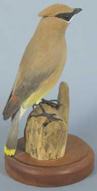 Robert & Virginia Warfield hand carved and painted Cedar Waxwing