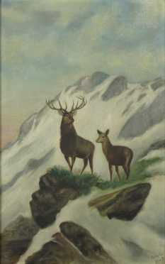 Oil on Canvas, of a buck and doe
