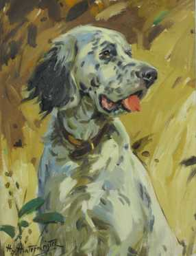 Hy Hintermeister, oil on canvas portrait of an English Setter
