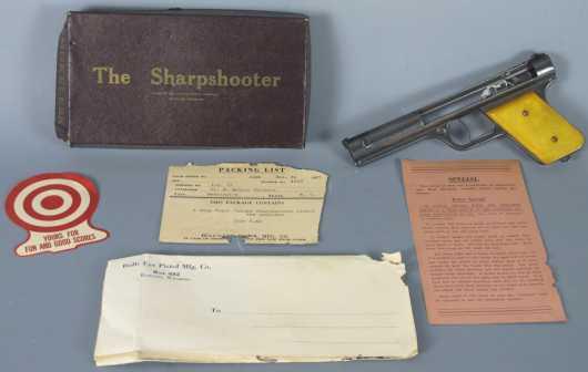 "Circa 1937 Bull's eye Pistol Company Rubberband Powered ""Sharpshooter"""