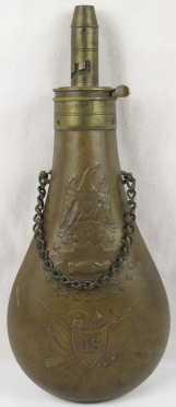 """Copper """"U.S."""" Military Powder Flask"""""""