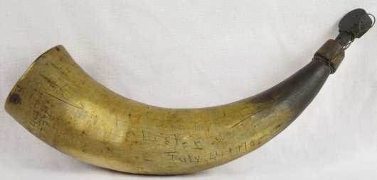 """Horn Powder Flask scrimshawed with the name, """"H. Hill, 1774"""""""